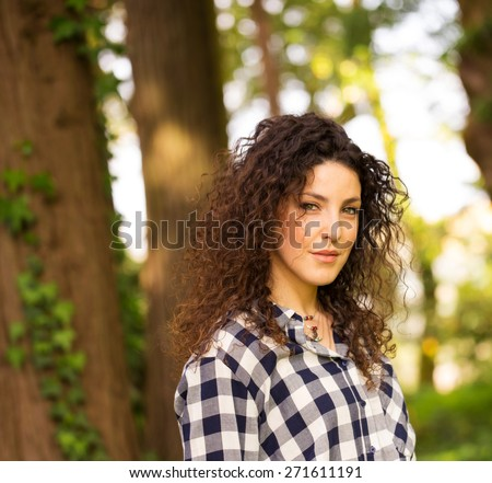 Beautiful Portuguese Woman Outdoor Protrait - stock photo