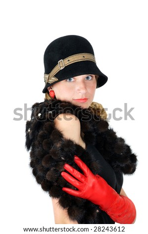 beautiful posing smiling girl in hat and red gloves hides smile, isolated on white - stock photo