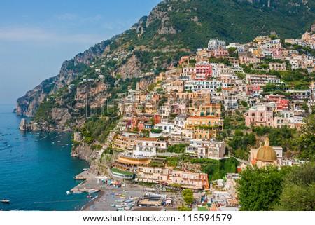 Beautiful Positano city on Amalfi Coast, Italy - stock photo