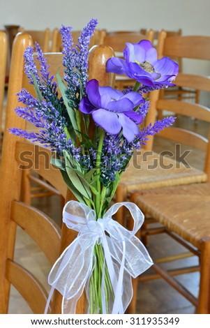 beautiful posy for a wedding ceremony - stock photo