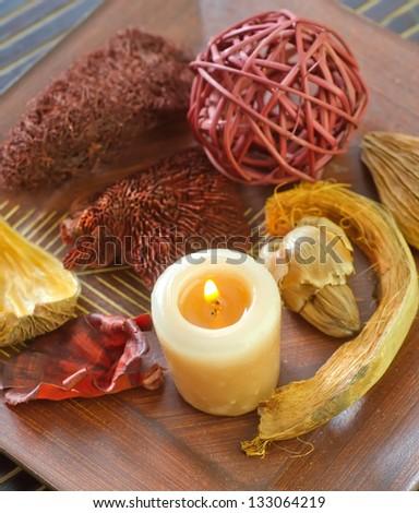 Beautiful Pot Pourri and candle - stock photo
