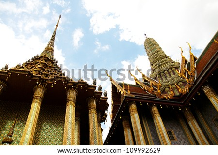 Beautiful pra mondop in Bangkok's Grand Palace, The palace is one of the most popular tourist attractions in Thailand.