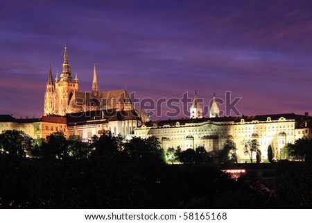 Beautiful Prague Gothic Castle In The Night