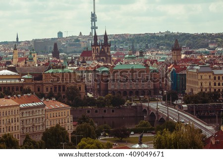 Beautiful Prague medieval town landscape, travel location, buildings & cathedral