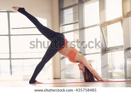 Beautiful pregnant woman in fitness exercise - stock photo