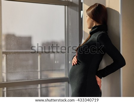 Beautiful pregnant woman in sunlight - stock photo