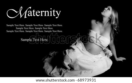 Beautiful Pregnant Woman with Text Space to the Left - stock photo
