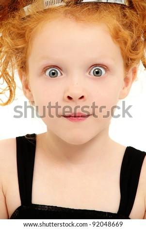 Beautiful Preschool Girl Child with Wide Eyed Excited Expression over White Background - stock photo
