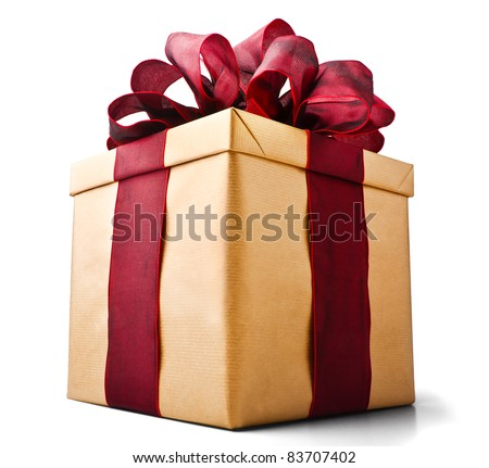Beautiful present box with overwhelming bow isolated on white (with Clipping Path) - stock photo