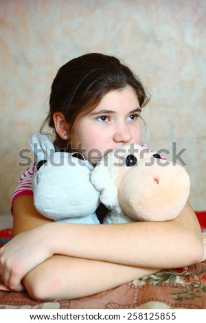 beautiful preteen girl with birthday presents