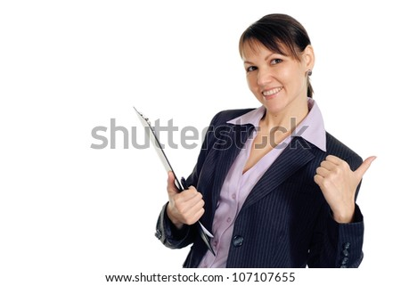 Beautiful pretty business woman shows cool on a white background
