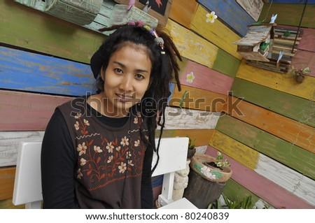 Beautiful Pretty Style Women Hair Asia Dreadlock - stock photo