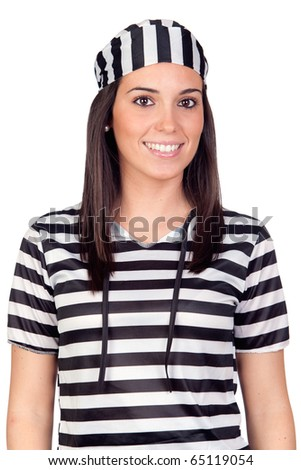 Beautiful prisoner isolated on a over white background