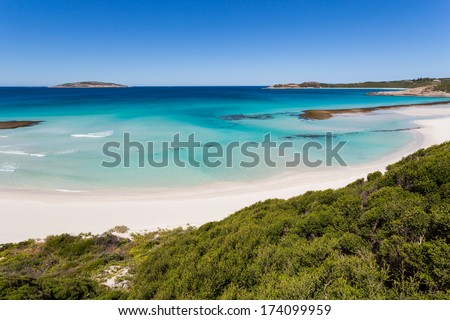 Beautiful pristine beach with amazing sea colors in Esperance, Australia - stock photo
