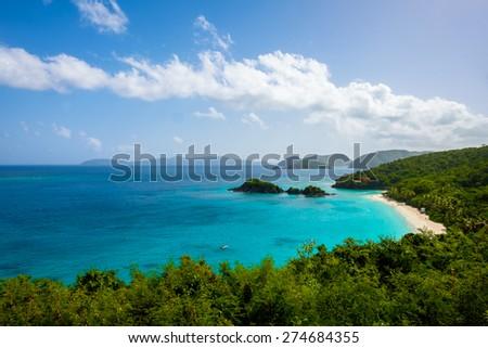 Beautiful pristine Carribbean beach in Saint John in the United States Virgin Islands. - stock photo