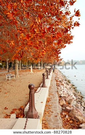 Beautiful promenade at Lake Balaton in autumn, Hungary