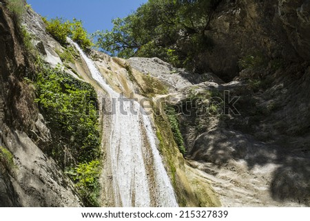 Beautiful pure clean waterfall near Nidri on the island of Lefkada in Greece