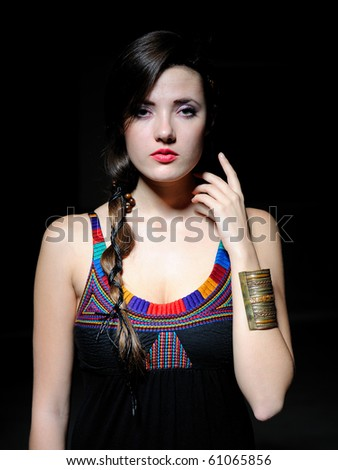 Beautiful pure  model woman with long healthy hair and pretty eye make-up - stock photo