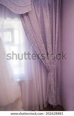 beautiful purple curtain in the room - stock photo