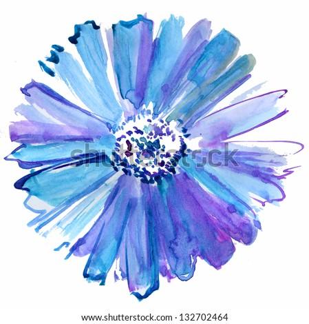 Beautiful Purple Flower Watercolor Painting
