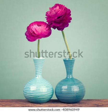Beautiful purple ranunculus flowers in a blue vases - stock photo