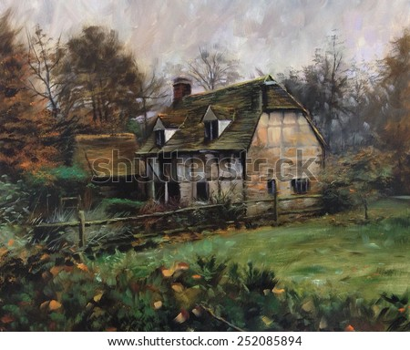 Beautiful Quaint English Cottage Manor Landscape Pastel Watercolor Oil Painting Sketch Rough