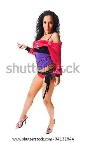 Beautiful ragga dancer isolated on white background