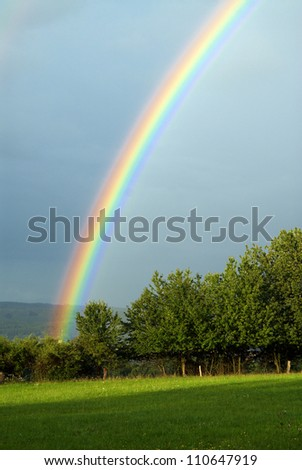 beautiful rainbow during a summer storm - stock photo