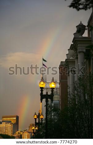 Beautiful rainbow in historic Boston Massachusetts in the back bay area - stock photo