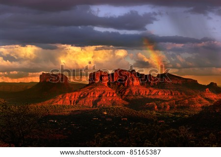 Beautiful rainbow in Sedona Arizona during sunset - stock photo