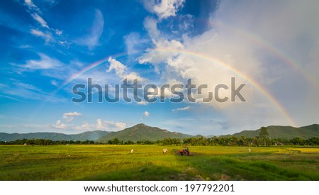 Beautiful Rainbow In The Nice Sky Over Country Landscape - stock photo