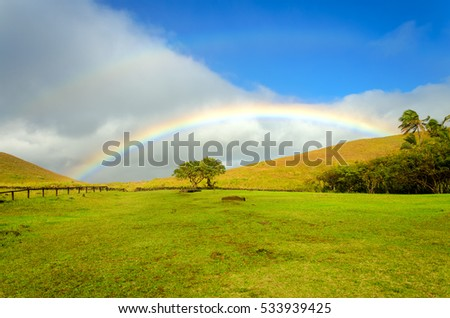 Beautiful rainbow landscape on Easter Island in Chile