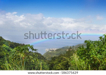 Beautiful rainbow over the rainforest at the island dominican republic.
