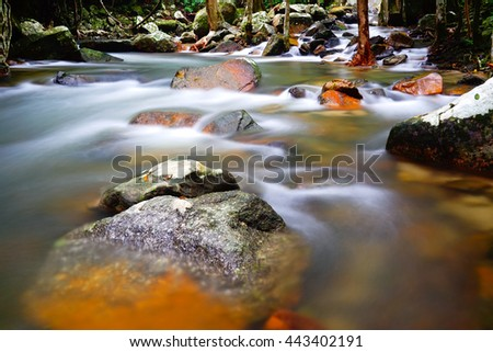 Beautiful rainny waterfall,taken with a very slow shutter speed to show the movement of water in a creek through a rocky landscape - stock photo