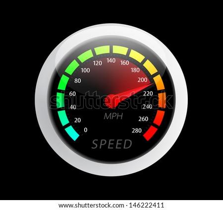 Beautiful realistic speedometer ilustration - stock photo