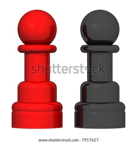 Beautiful red and black chess pawns isolated on white - stock photo