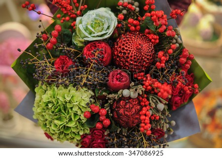 Beautiful red and green mix  flowers bouquet