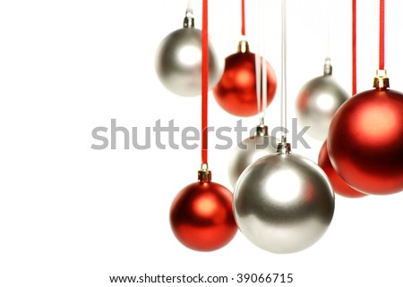 Beautiful red and silver christmas ball isolated on white background - stock photo