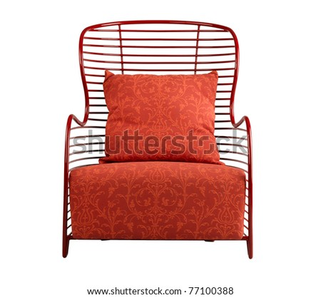 Beautiful red armchair nice for your living room - stock photo