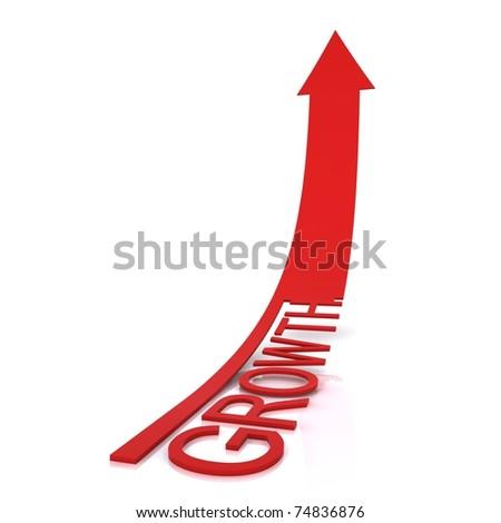 Beautiful red arrow growth. - stock photo