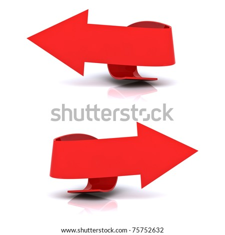 Beautiful red arrows in both directions, left and right. - stock photo