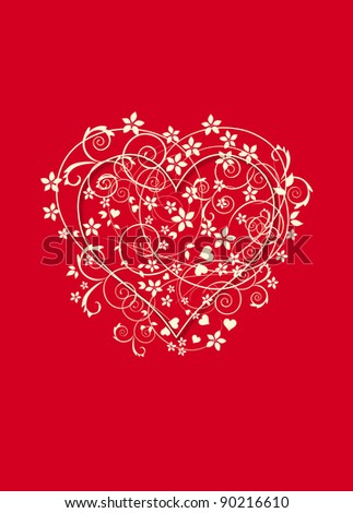 Beautiful red background with love heart , swirls and flowers. - stock photo