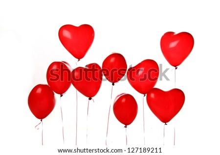 beautiful red balloons hearts