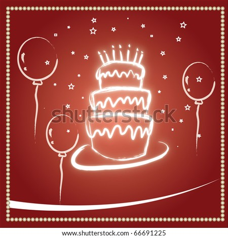 Beautiful red birthday and wedding cake background - stock photo