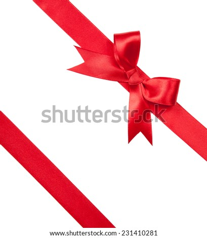 Beautiful red bow isolated on white background - stock photo