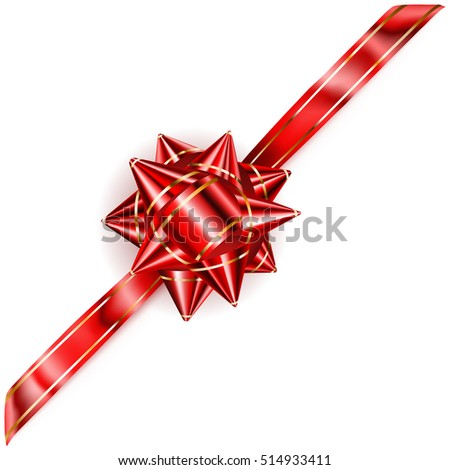 Beautiful red bow with diagonal ribbon and golden strips