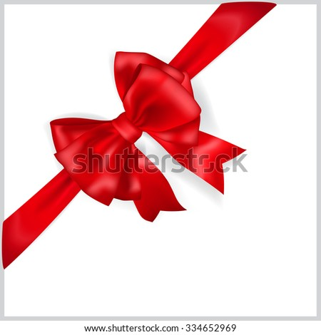 Beautiful red bow with diagonally ribbon with shadow - stock photo