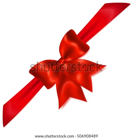 Beautiful red bow with diagonally ribbon with shadow for gift decoration