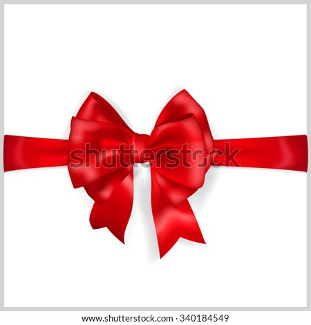 Beautiful red bow with horizontal ribbon with shadow