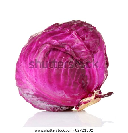beautiful red cabbage isolated on white - stock photo